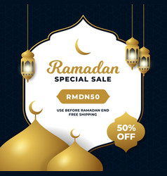 Ramadan special sale social media poster template vector