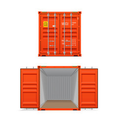 realistic set of bright red cargo containers vector image