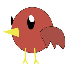 red bird with big eyes on white background vector image
