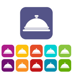 Restaurant cloche icons set vector