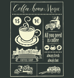 retro banner with a cup of coffee and vintage cars vector image