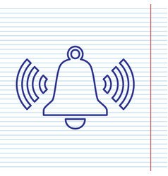 ringing bell icon navy line icon on vector image