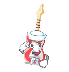 sailor miniature guitar electric in the cartoon vector image