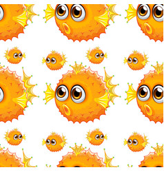 Seamless pattern tile cartoon with puffer fish vector