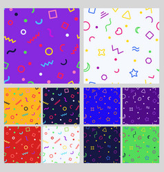 set of geometric seamless patternt vector image