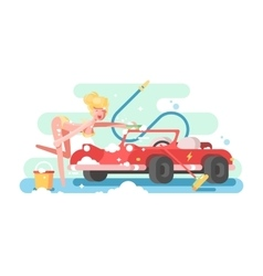 Sexy girl washing a car vector image