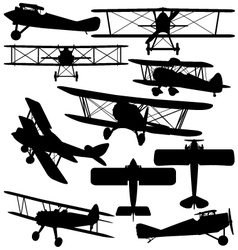 Silhouettes old aeroplane - biplane vector