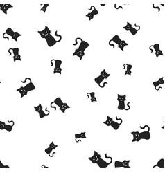 Sinister cat halloween pattern seamless vector