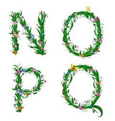 summer floral alphabet letters vector image