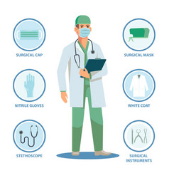 Surgeon or doctor with isolated items for work vector