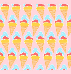 tender pink pattern with hand drawn ice creams vector image