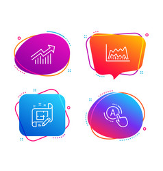 Trade chart demand curve and architect plan icons vector