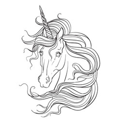 unicorn head coloring book contour vector image