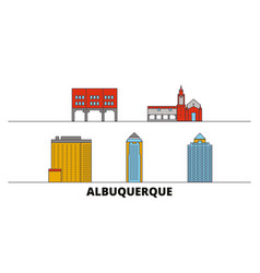 United states albuquerque city flat landmarks vector
