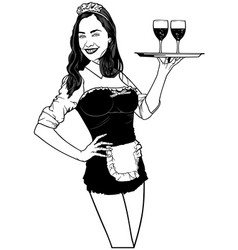 Waitress carries wine on a tray vector