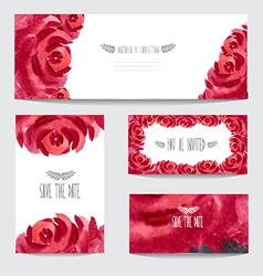 Watercolor floral cards set vector