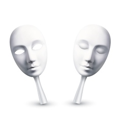 White carnival masks with open and closed eyes vector
