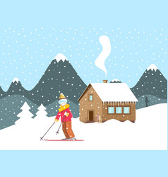 winter holliday landscape snow with mountain vector image