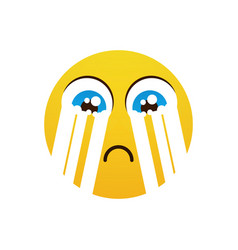 yellow cartoon face cry tears people emotion icon vector image