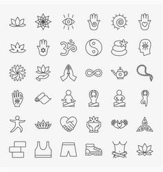 Yoga meditation line icons set vector