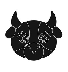 cow muzzle icon in black style isolated on white vector image