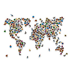 crowd of people in the form of world map vector image