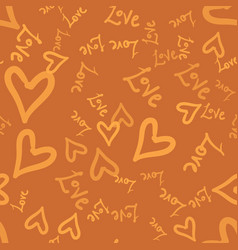 doodle romantic seamless pattern with doodle love vector image vector image