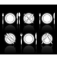 Fork knife and spoon icons vector image vector image