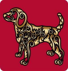 Golden dog ornament vector image vector image