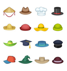 hat cap icons set cartoon style vector image vector image