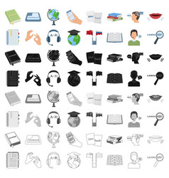 interpreter and translator set icons in cartoon vector image