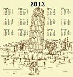 leaning tower of pisa 2013 vintage calendar vector image vector image