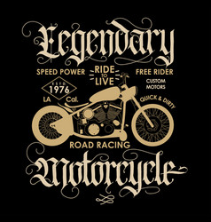 motorcycle sport t-shirt emblem vector image vector image