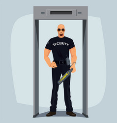 security guard with metal detector vector image