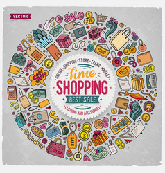 set of shopping cartoon doodle objects vector image vector image