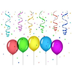 Confetti and party balloons vector image vector image