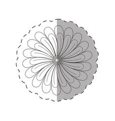 Dahlia flower decoration cut line vector