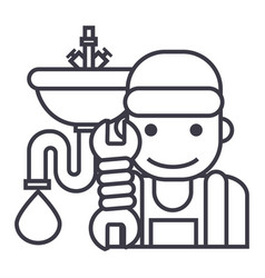 plumbing service line icon sign vector image