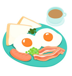 breakfast and hot coffee vector image vector image