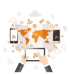 Cloud computing and mobile communication concept vector image