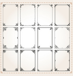 decorative frames and borders rectangle set 7 vector image vector image