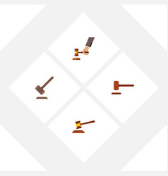 flat icon hammer set of defense tribunal crime vector image vector image