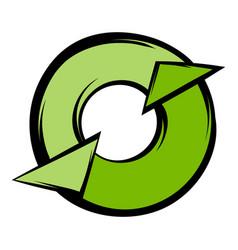 round recycle icon cartoon vector image