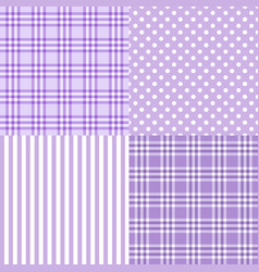 set of 4 purple patterns striped plaid vector image vector image