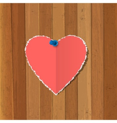 Torn paper heart pinned on wooden background vector image vector image