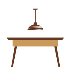wooden table with lamp vector image vector image