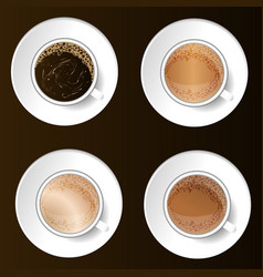 Coffee cups top view vector image