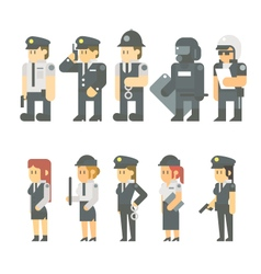 Flat design of police set vector image