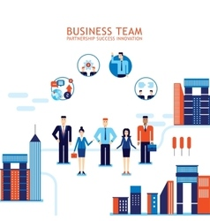 Group of business people on city background vector image