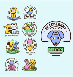 Pet badge graphic sticker set domestic vector